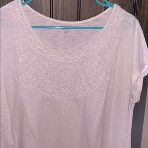 Coldwater Creek white tee w/ sequins size 1X
